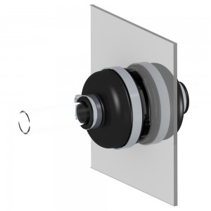 ZJI RigidFlex sump, container, and vault entry fittings mounted on a display board.