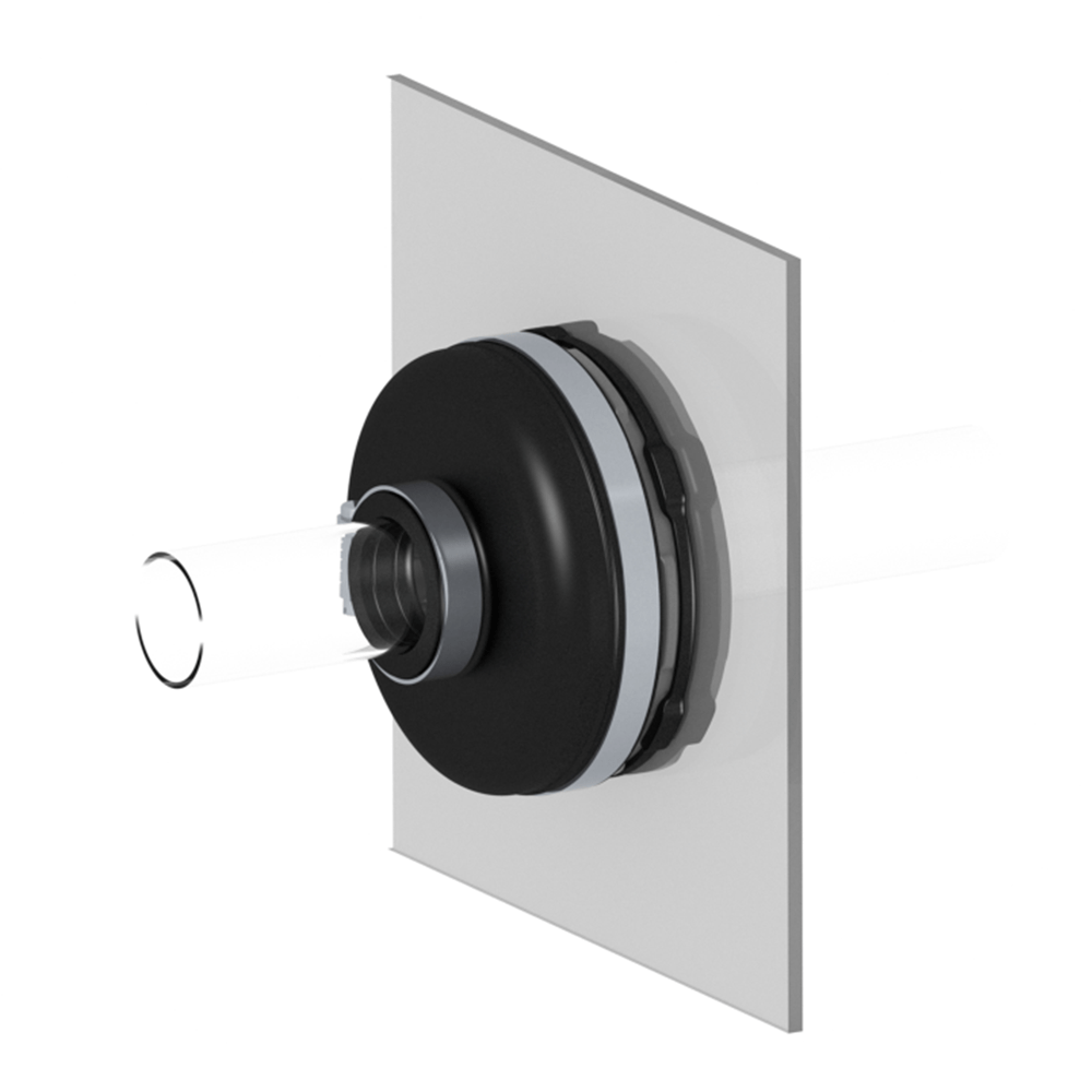 RF Eco sump entry fitting mounted to a display board.